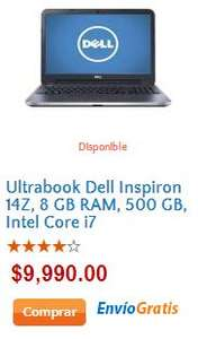 Walmart: Ultrabook Dell con Intel Core i7 y 8GB de RAM $9,990 (y $999 de bonificación con Banamex)