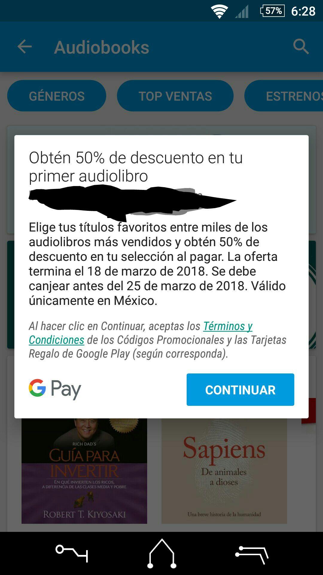 Google Play: 50% de descuento en el primer audiolibro