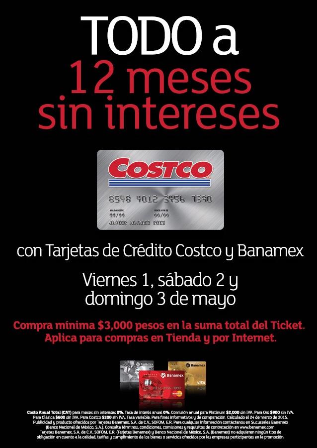 Costco: 12 meses sin intereses sin restricciones con Banamex 1, 2 y 3 de mayo