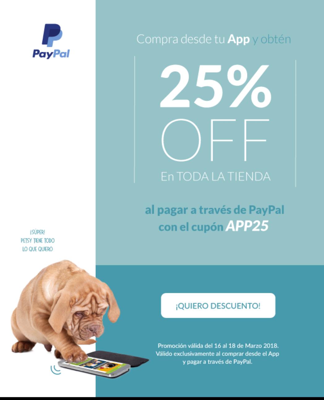 Petsy.mx: 25% de descuento con PAYPAL