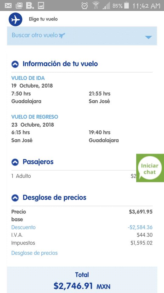 Interjet: Guadalajara - Costa Rica, Redondo.