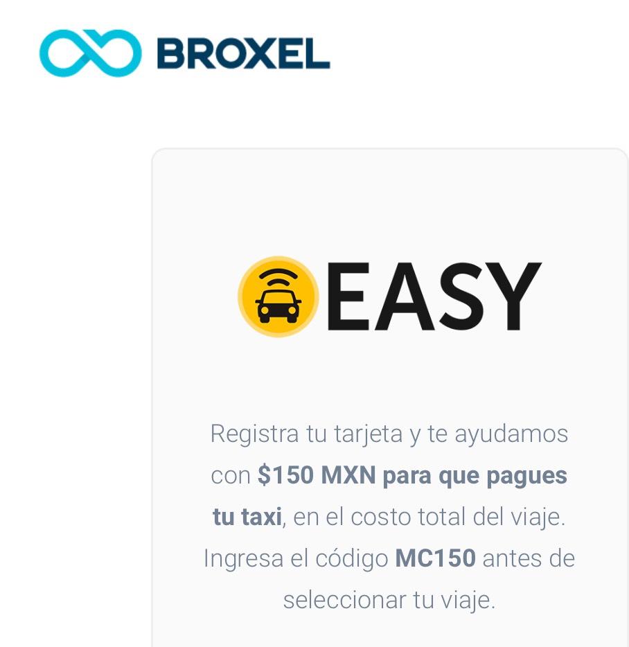 Easy Taxi: Descuento de 150 pesos con tarjeta Broxel