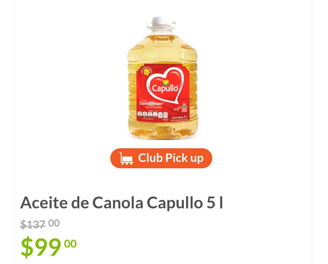Sam's Club: Aceite de Canola Capullo 5 L