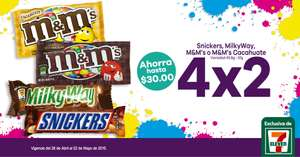 7 Eleven: 4x2 en chocolates Milky Way, Snickers y más