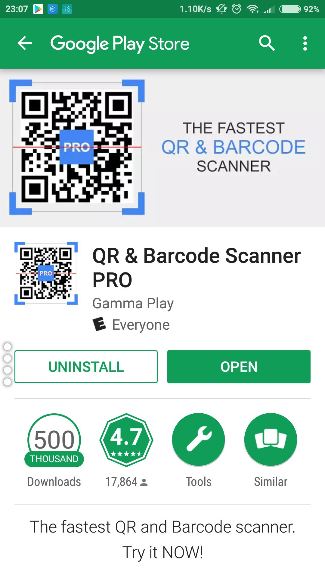 Google play: QR & Barcode Scanner PRO