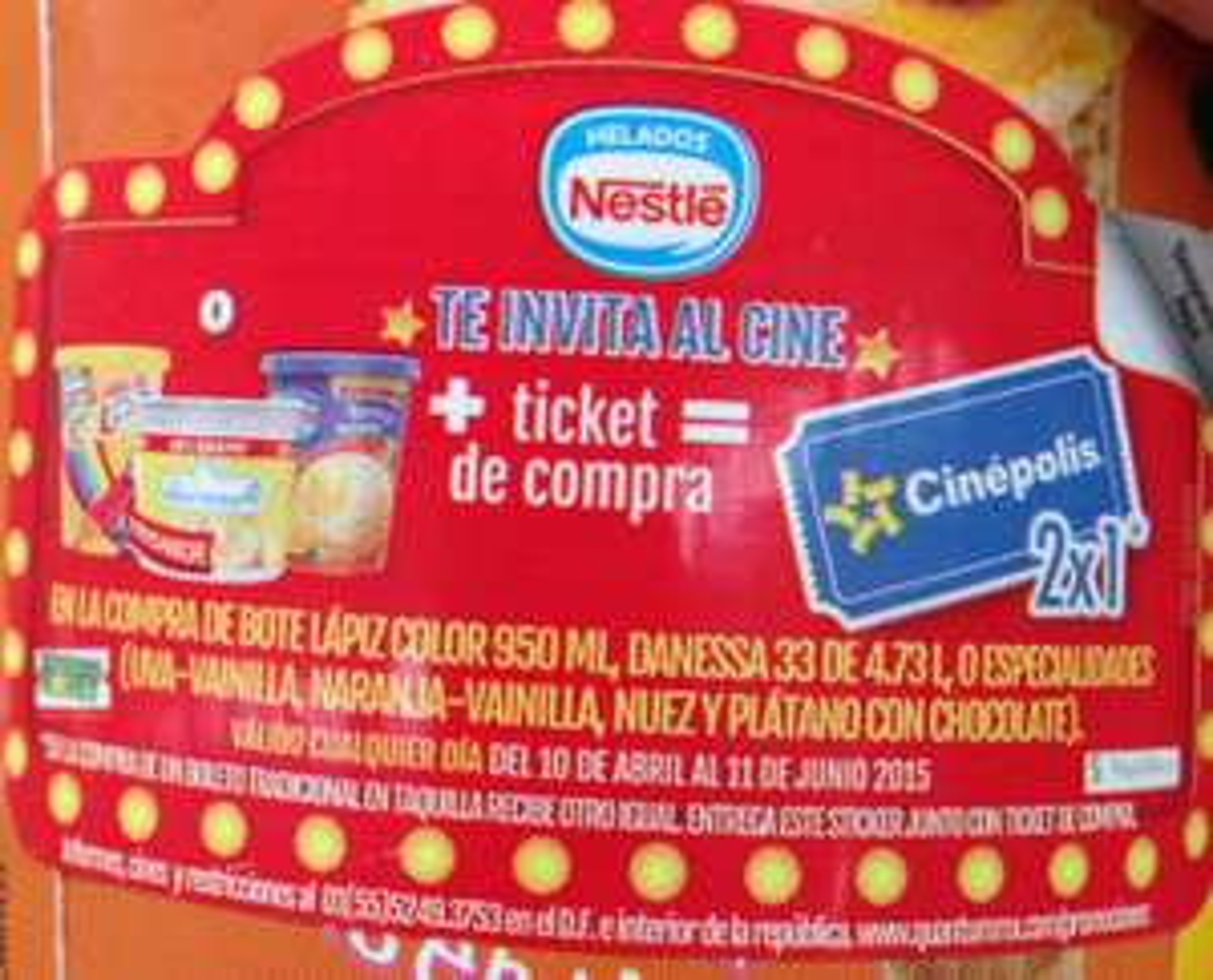 2x1 para Cinépolis comprando helados Nestlé (válido de lunes a domingo)