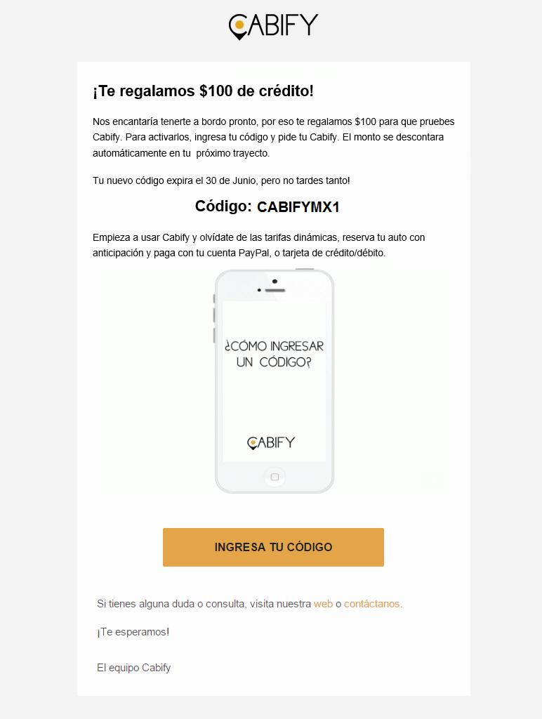 Cabify: $300 pesos de crédito gratis para nuevos usuarios