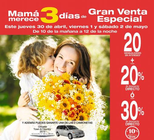 Sears: venta especial día de las madres del 30 abril al 2 de mayo