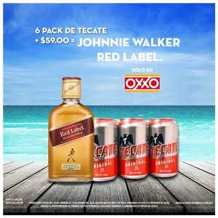 Oxxo Six de Tecate + $59 Johnnie Walker Red label