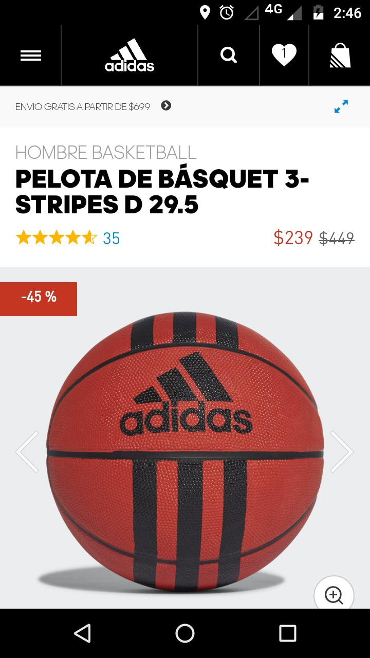 Adidas online: Balón de basquetbol $239
