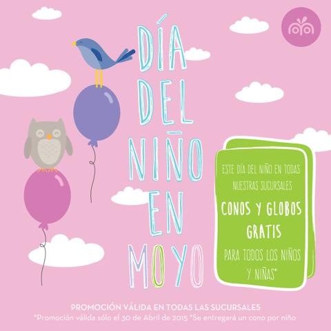 Promoción del día del niño en Moyo Frozen Yogurt: cono y globo gratis
