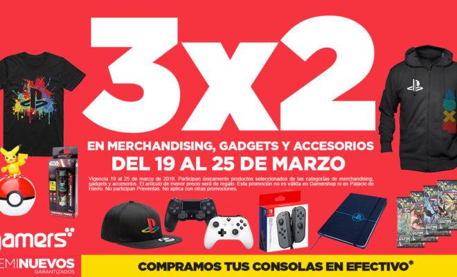 Gamers 3x2 en accesorios incluyendo merchadising
