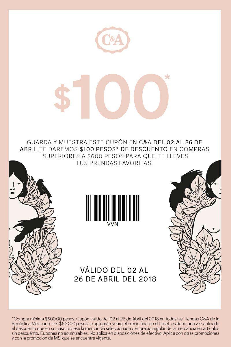 C&A: $100 de descuento en compra mínima de $600