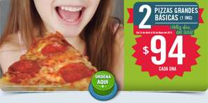 Domino's Pizza: Dos pizzas grandes (1 ingrediente) a $94 CADA UNA
