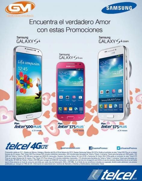Telcel: Samsung Galaxy S4 a $349 en plan de $399 al mes y más promociones (R9)