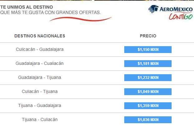 Aeroméxico: tarifas especiales entres Guadalajara, Culiacán y Tijuana