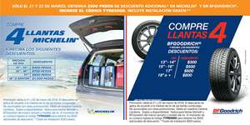 Costco: descuento de $500 pesos si compras 4 llantas Michelin o BFgoodrich (se puede combinar con promo PayPal)