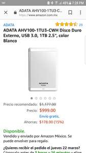 "Amazon: Disco Duro Externo, USB 3.0, 1TB 2.5"", color Blanco ADATA AHV100-1TU3-CWH"