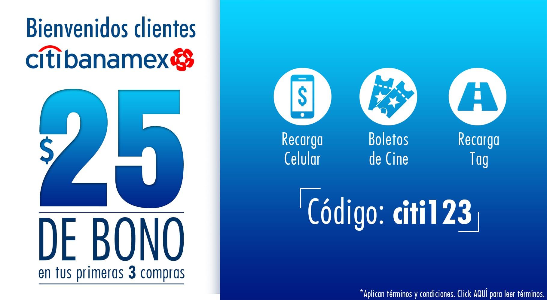 UnDosTres: $25 pesos de bono en tus primeras 3 recargas o compras usando tus tarjetas Citibanamex, solo nuevos usuarios