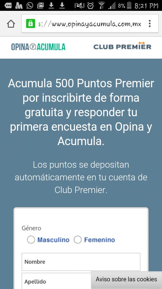 Opina y Acumula: 500 puntos Premier al Registrarse.