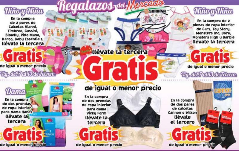 Mercado Soriana: 3x2 en ropa interior Hanes, Vicky Form, Toy Story, Barbie y más