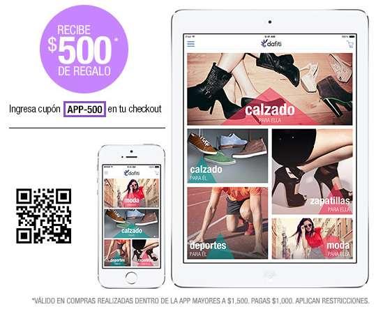 Dafiti: $500 de descuento comprando con la app y 2x1 en mercancía seleccionada