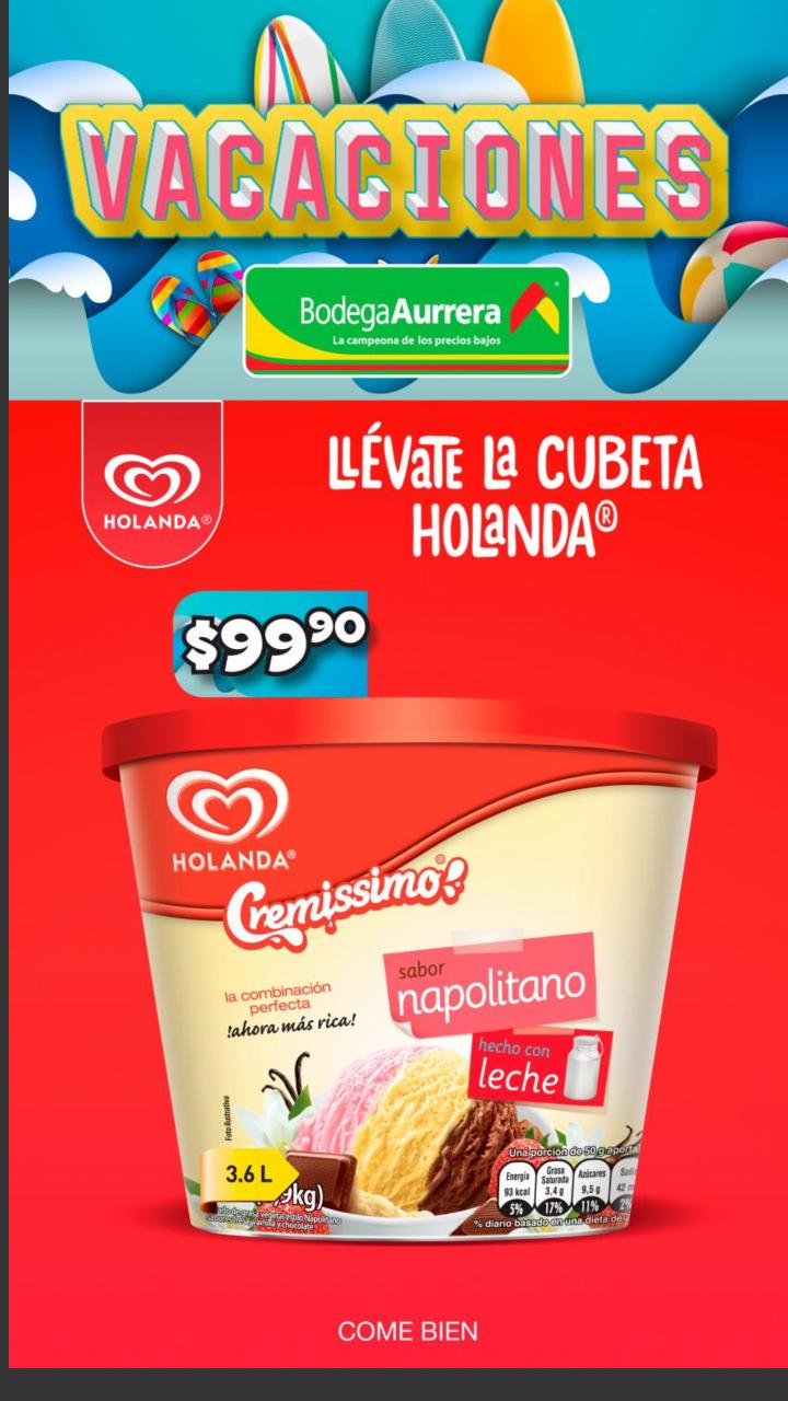 Bodega Aurrera: Cubeta Helado Holanda 3.6 lt a $99.90