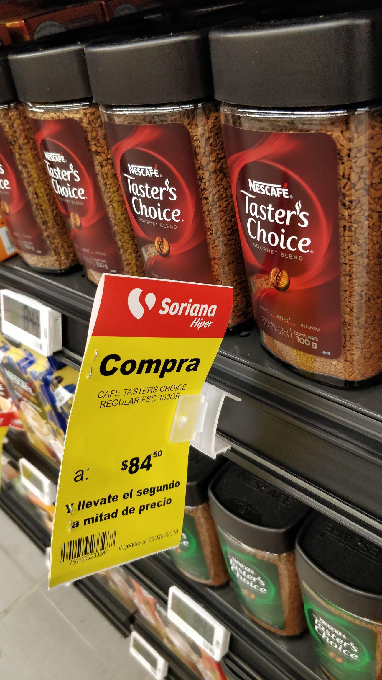 SORIANA: Café Taster's Choice 100g $84.50 (2x $126.75)