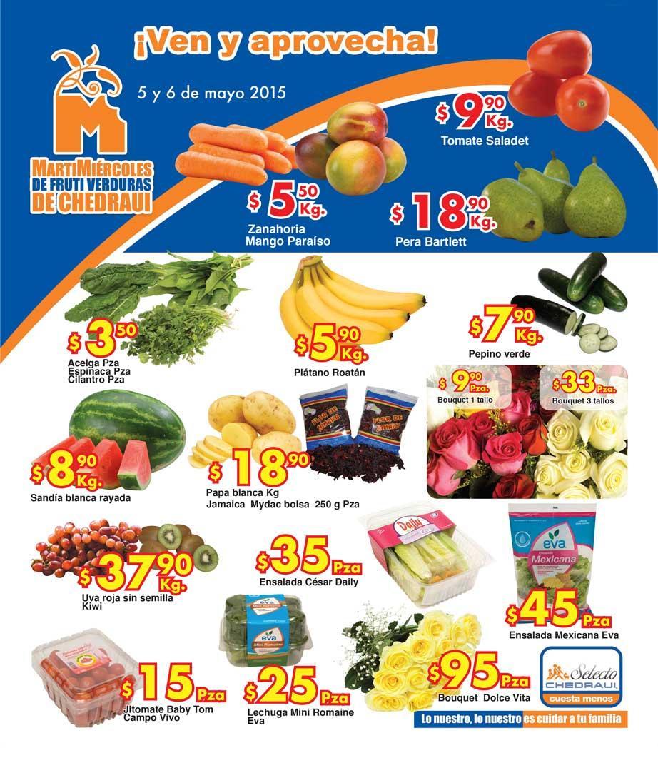 Ofertas de frutas y verduras en Chedraui 5 y 6 de mayo