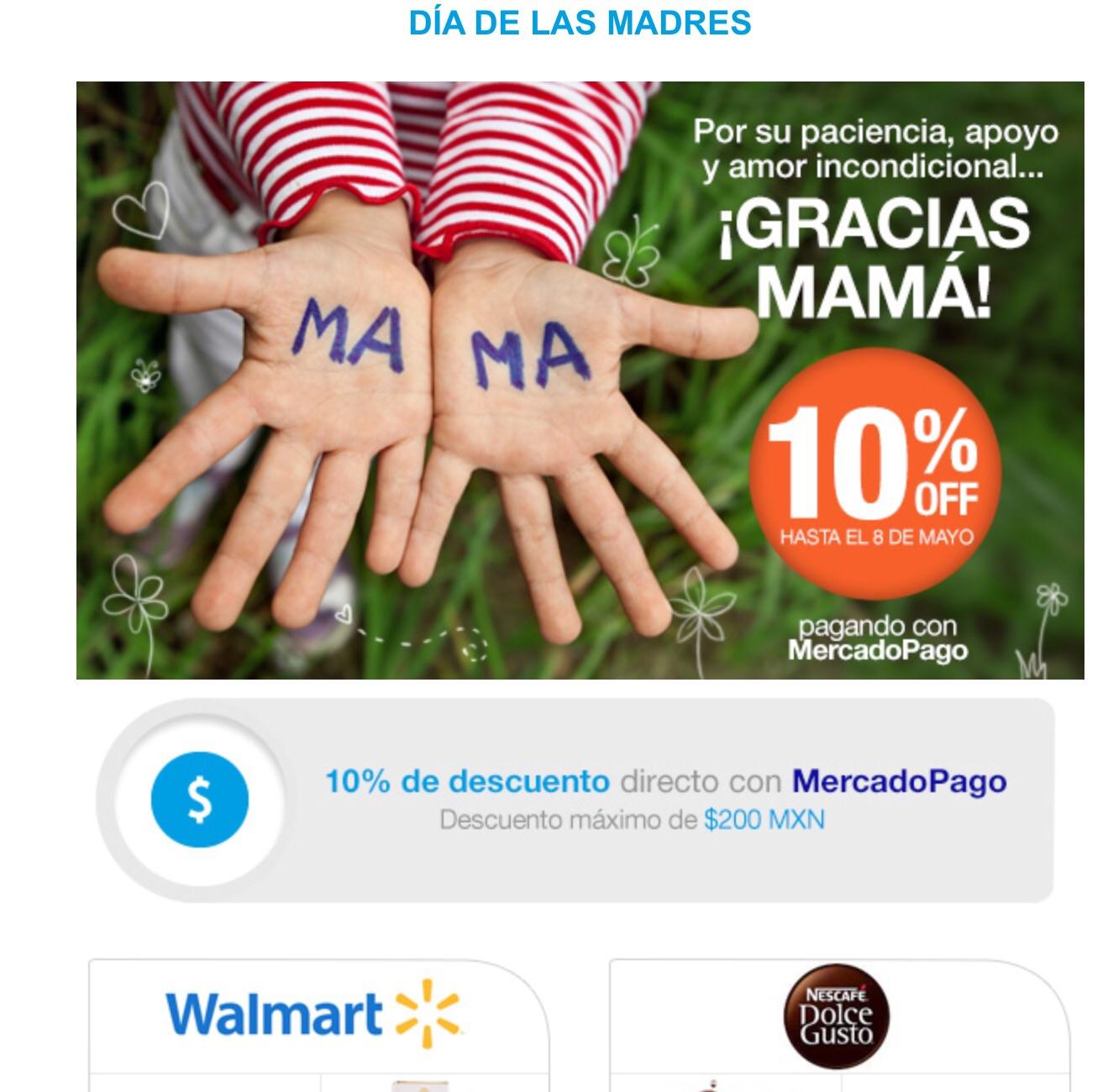 10% de descuento en Walmart y otras tiendas (hasta $200) pagando con mercadopago