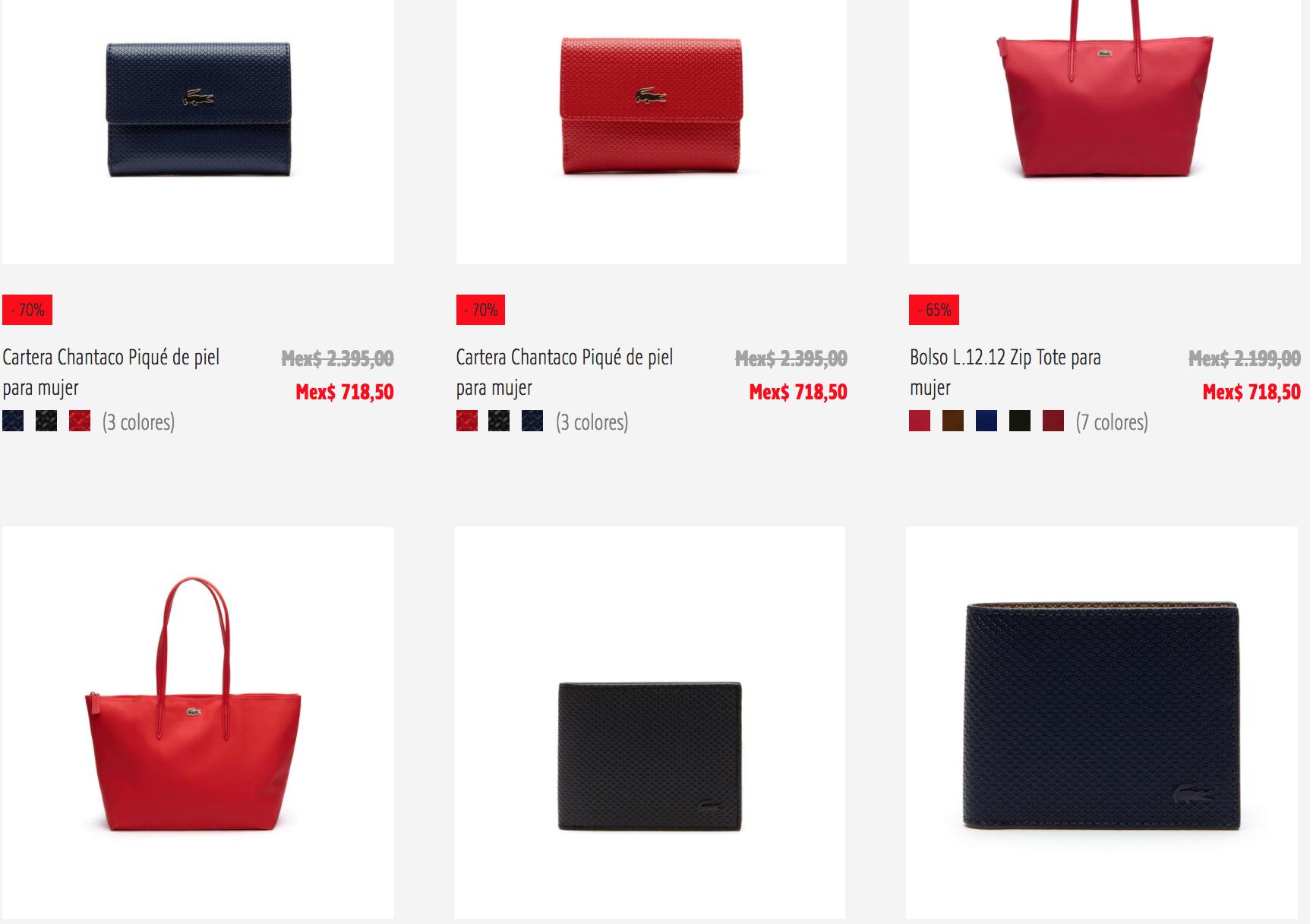 Lacoste: Bolsas, carteras, Cinturones y accesorios desde $403