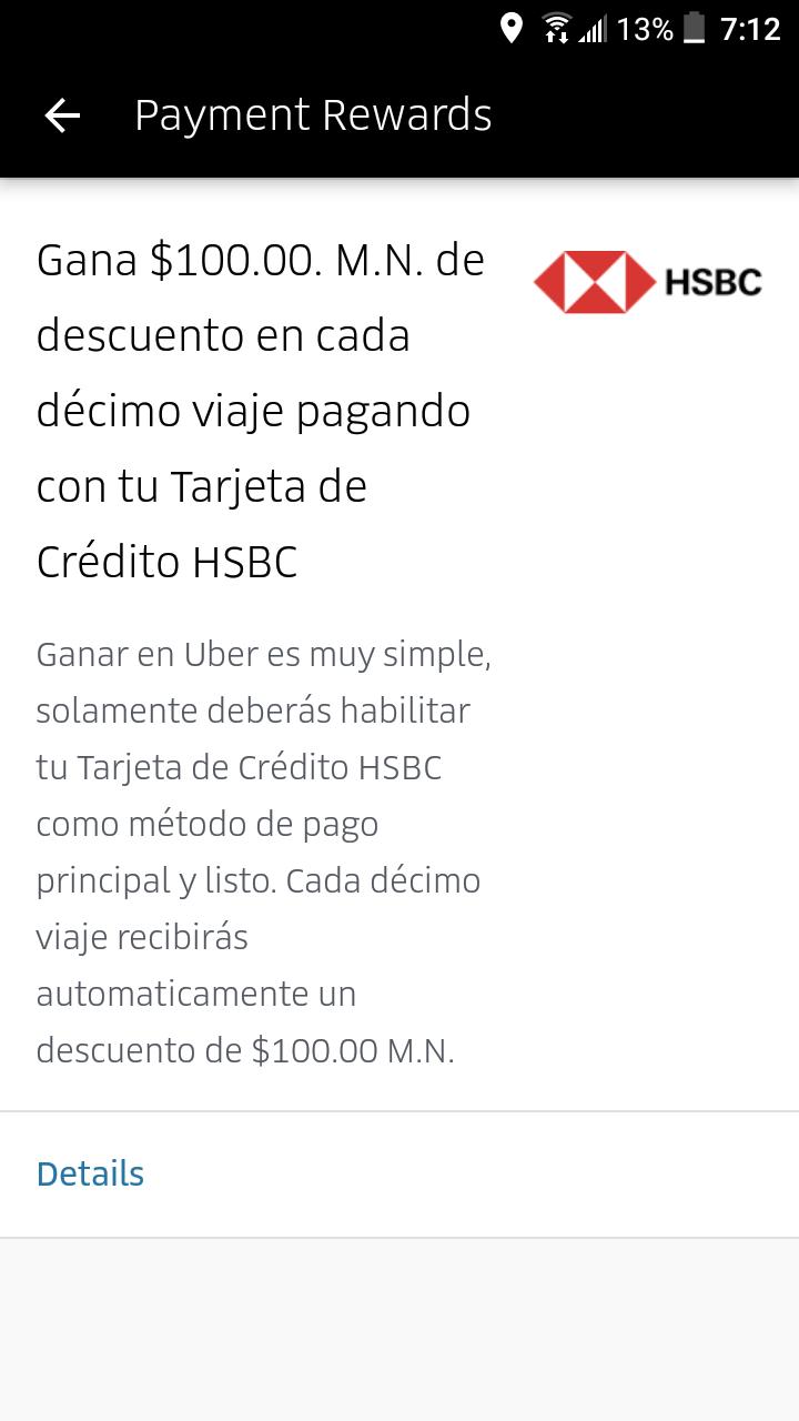 Descuento en Uber al decimo viaje con HSBC