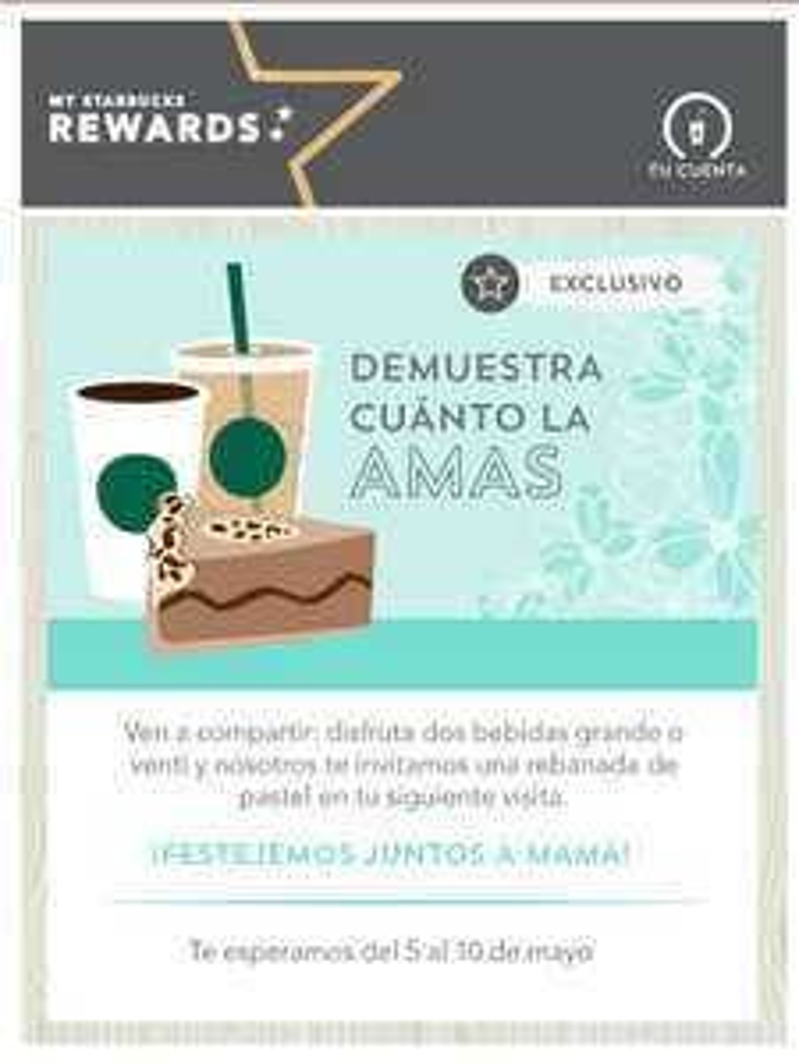 Starbucks: Rebanada de pastel gratis comprando bebidas