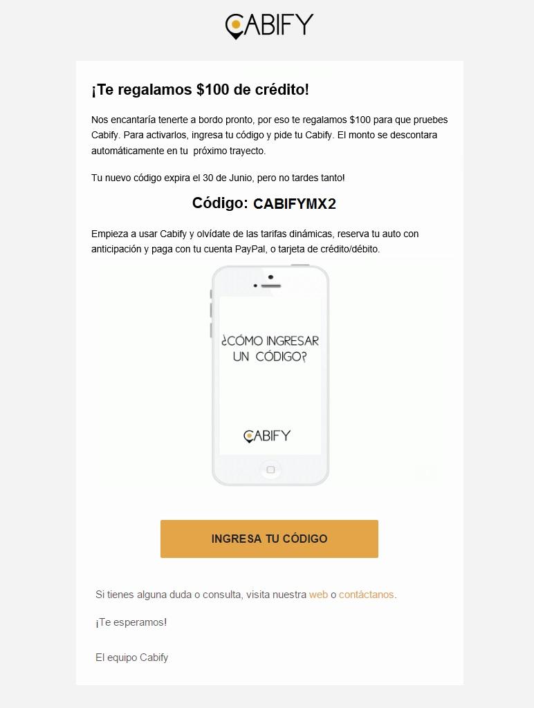 Cabify: $300 de credito nuevos usuarios
