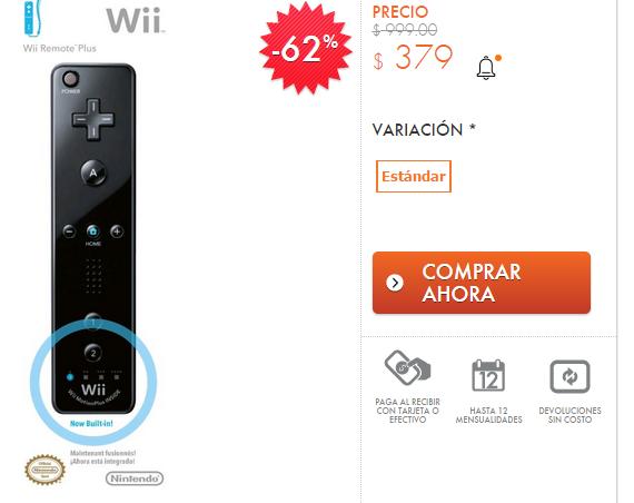 Linio: Control Remoto Plus Wii Negro en $379
