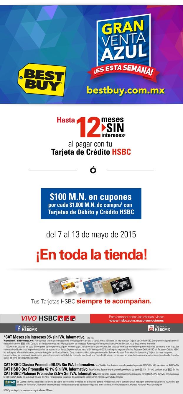$100 en cupones por cada $1,000 de compra en Best Buy con HSBC