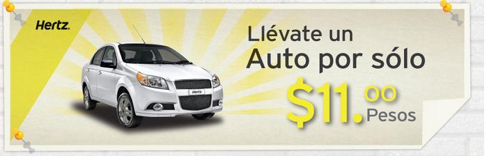 Hertz: rentas de auto a $11 primer día