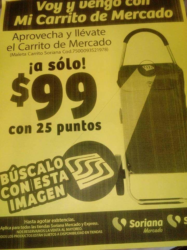 Soriana: Carrito de Mercado a $99 con 25 puntos
