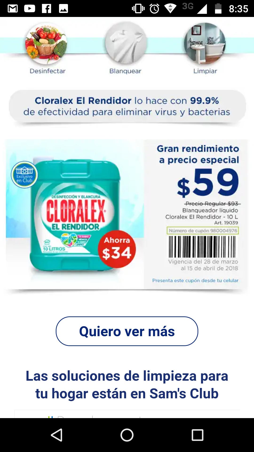 Sam's Club: cloralex 10 litros a $59 con cupón
