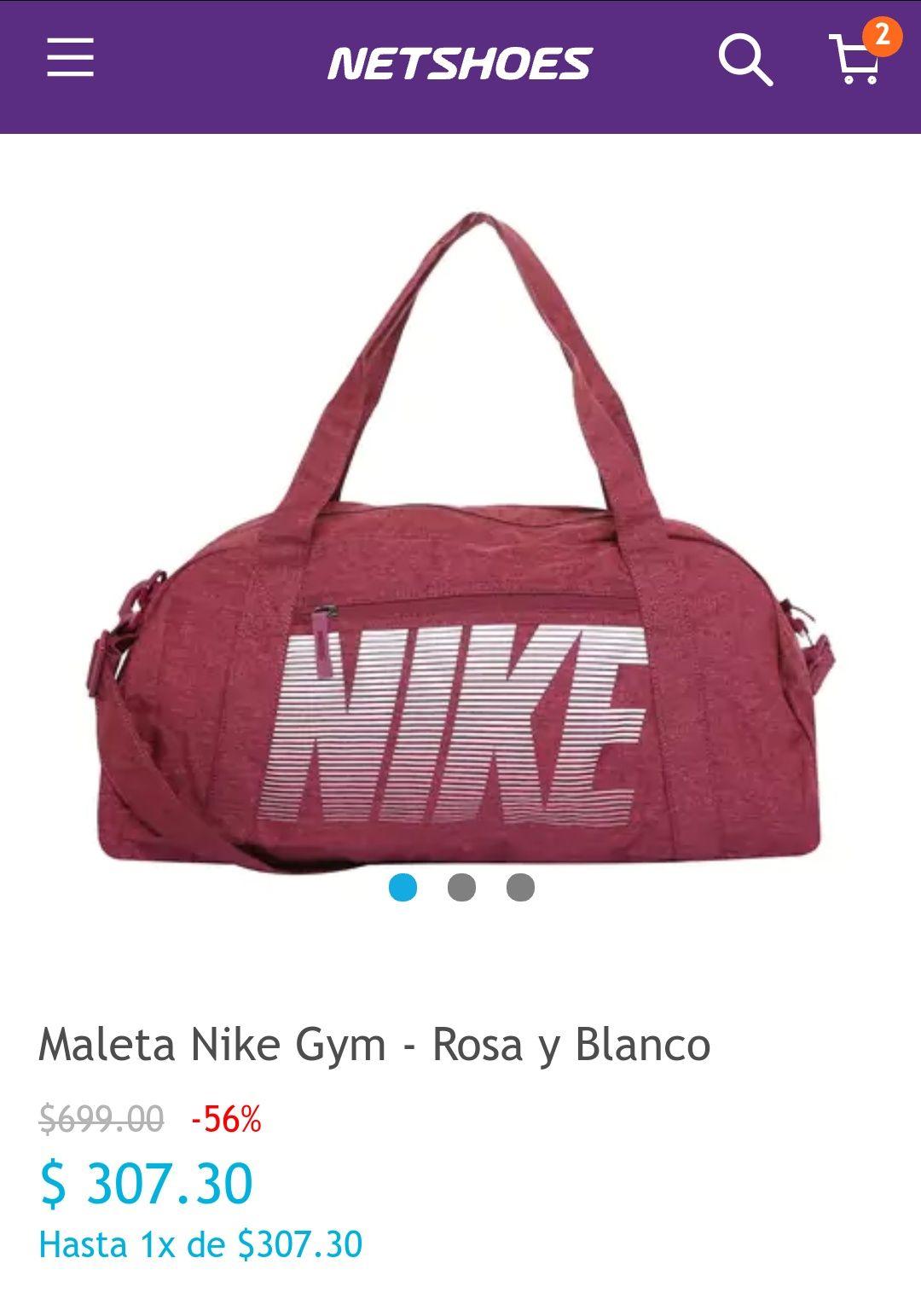 Netshoes: Maleta Nike Gym - Rosa y Blanco