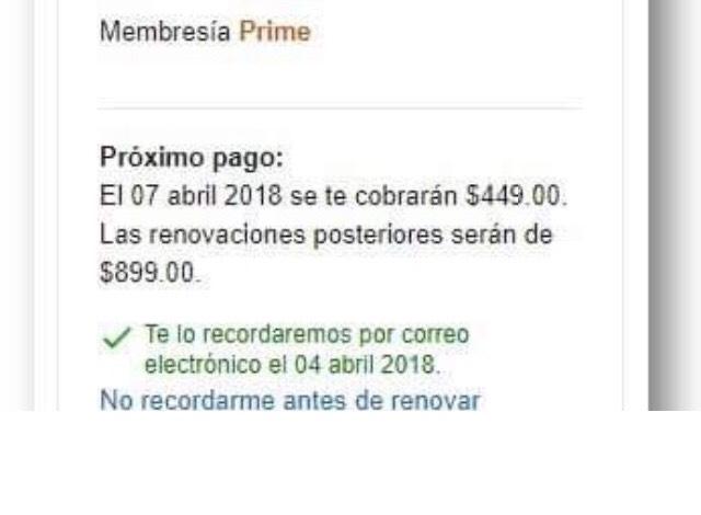 Amazon: Renovación de Amazon prime y primer año $449