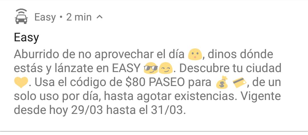 EasyTaxi -$80 descuento. 29-31 marzo