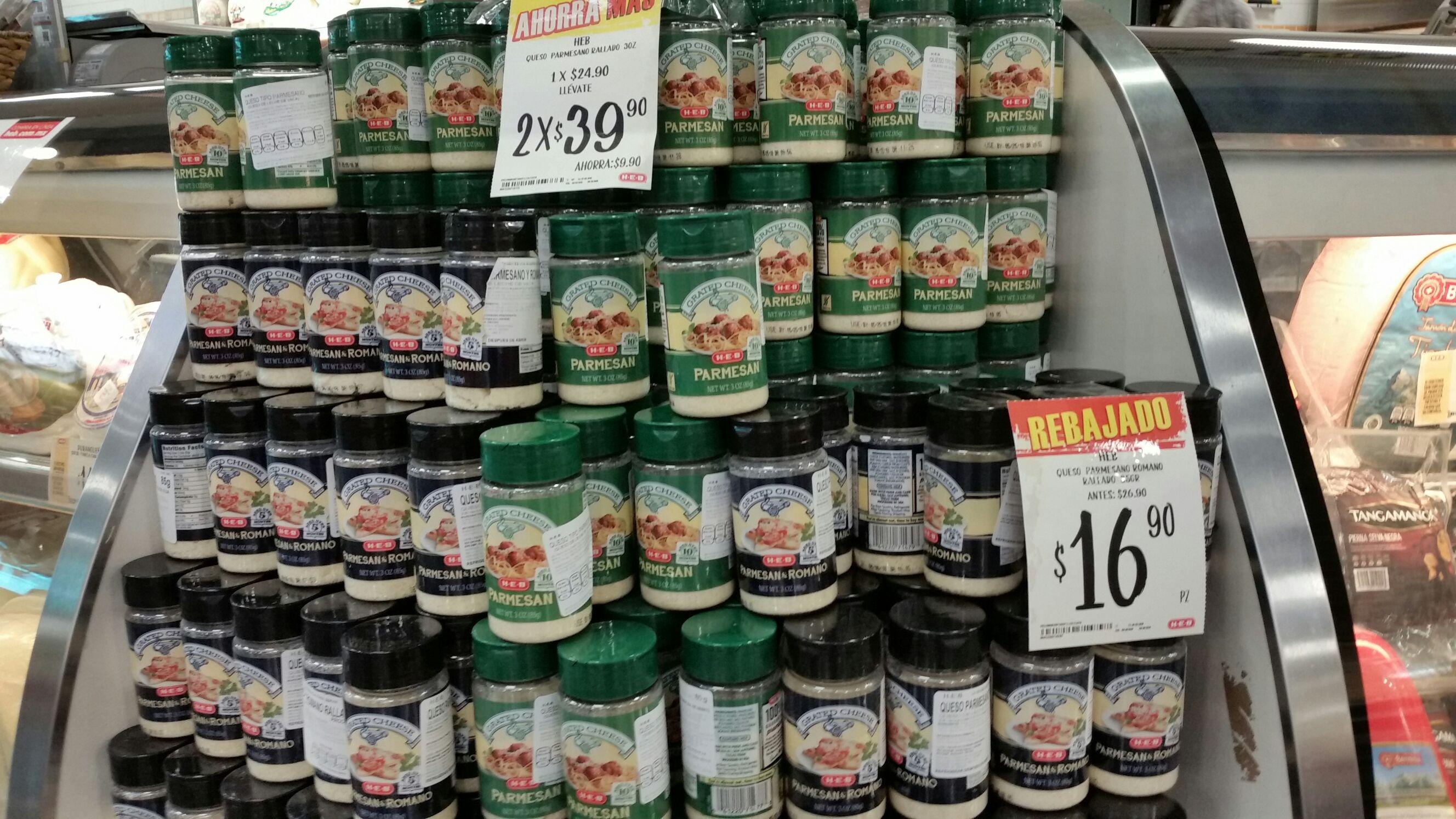 HEB: Queso Parmesano - Romano marca HEB de 85 grs.