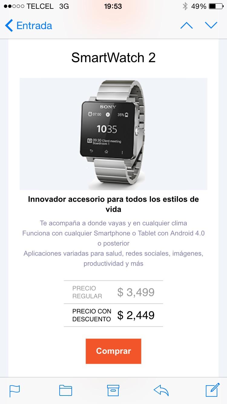 Sony Store: SmartWatch 2 Con 30% de descuento a $2,449