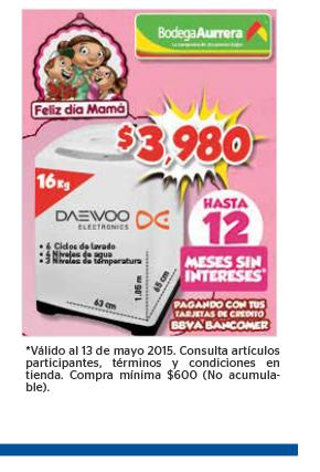 Bodega Aurrerá: Lavadora Daewoo 16kg a $3,980