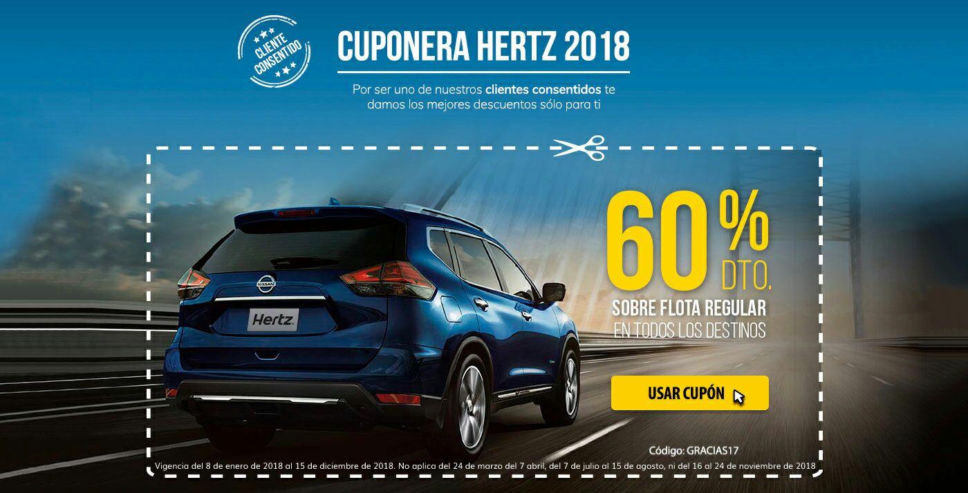 Hertz: Cupón 60% de descuento en renta de auto