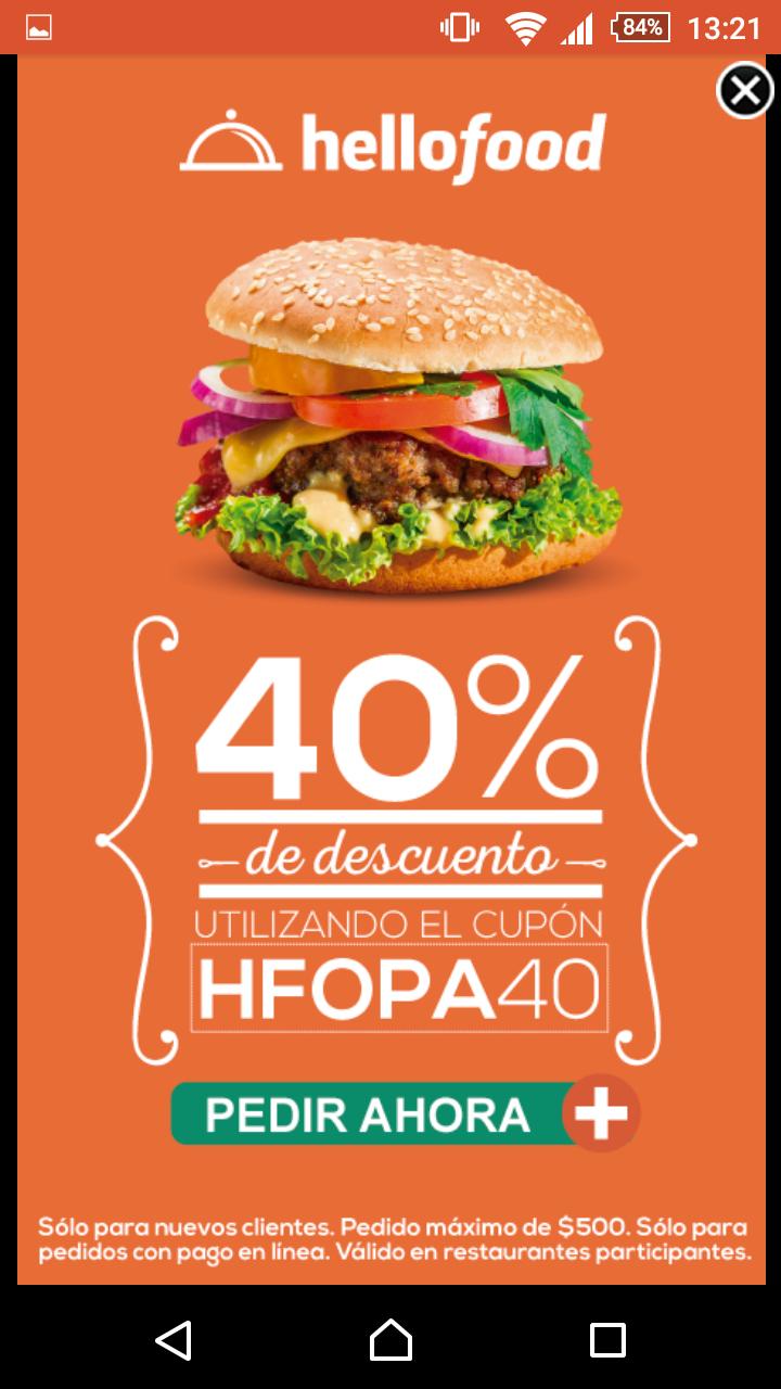Hellofood: 40% de descuento para clientes nuevos.