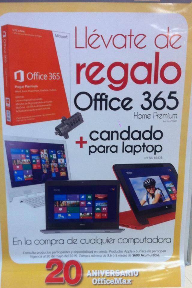 Office Max: Office 360 y candado gratis en la compra de computadora