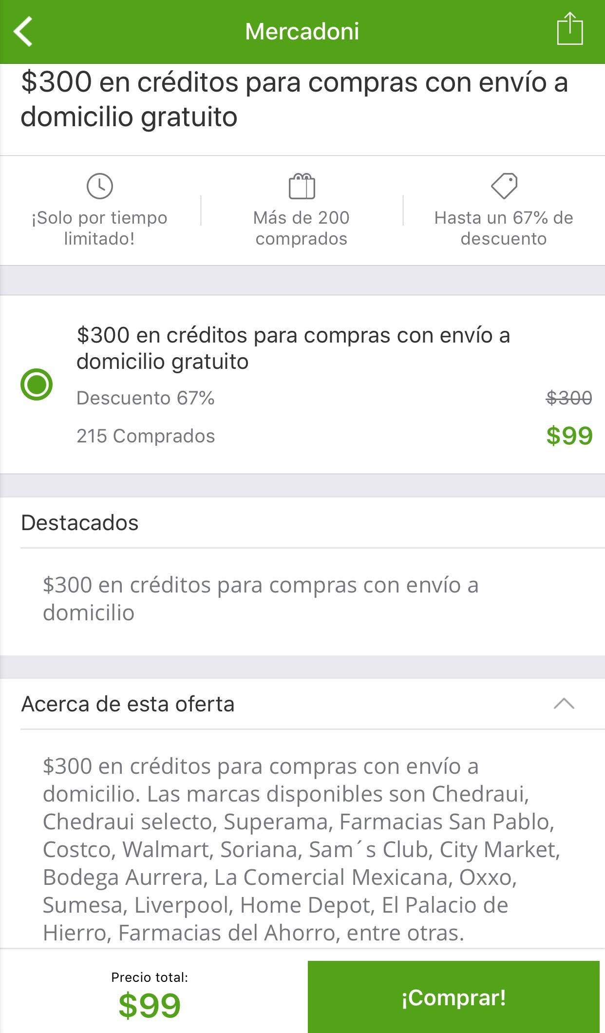 Groupon: Compra $300 pesos en $99 con Mercadoni (solo para nuevos usuarios)