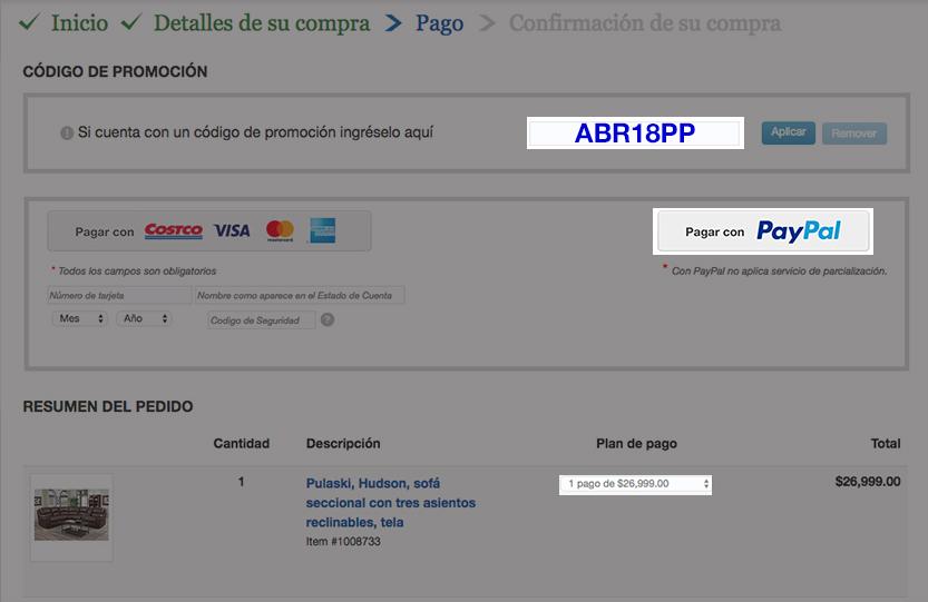 Costco: Descuento de $500 pesos en compra mínima de $3,000 y hasta 12 meses sin intereses pagando con PayPal